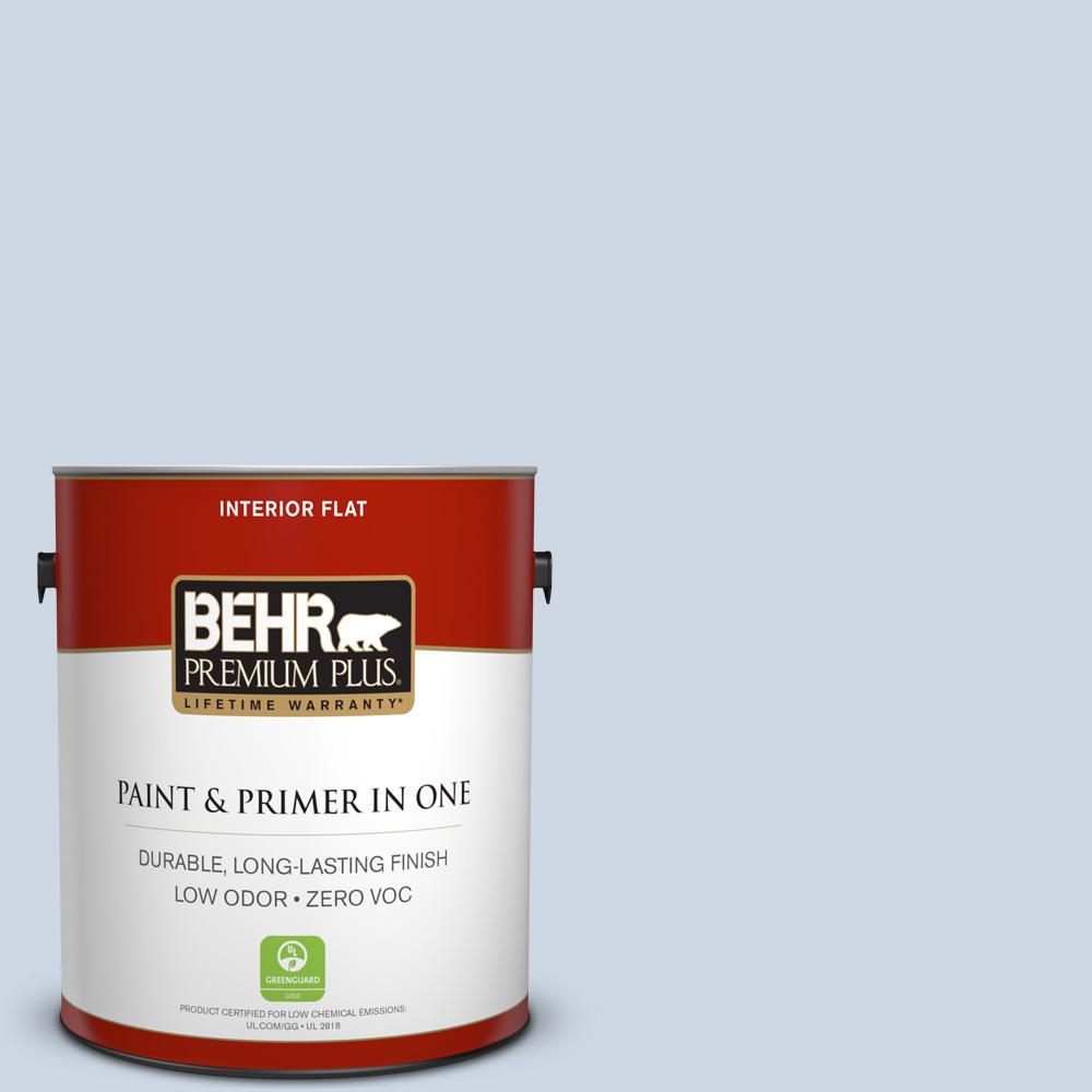 BEHR Premium Plus 1-gal. #ICC-35 Blue Reflection Zero VOC Flat Interior Paint