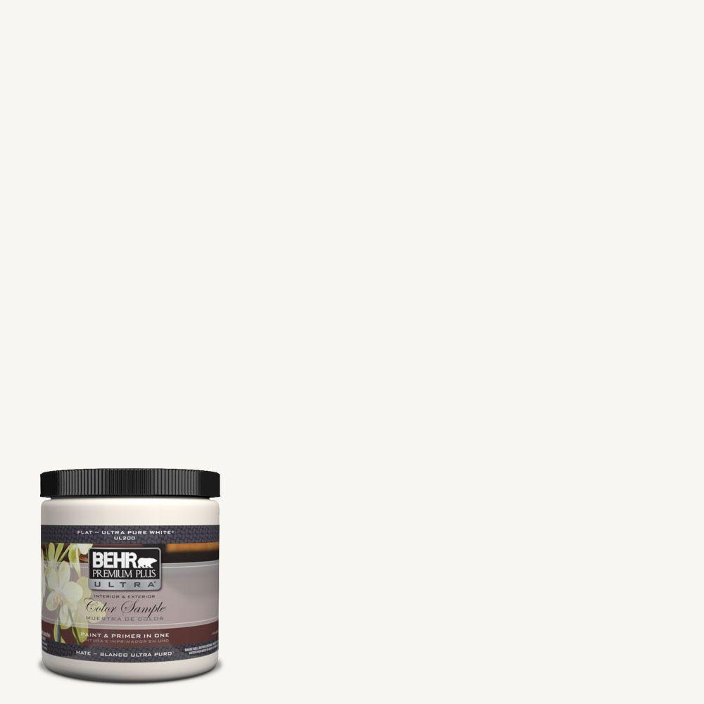 BEHR Premium Plus Ultra 8 Oz UL260 14 Pure White Matte Interior
