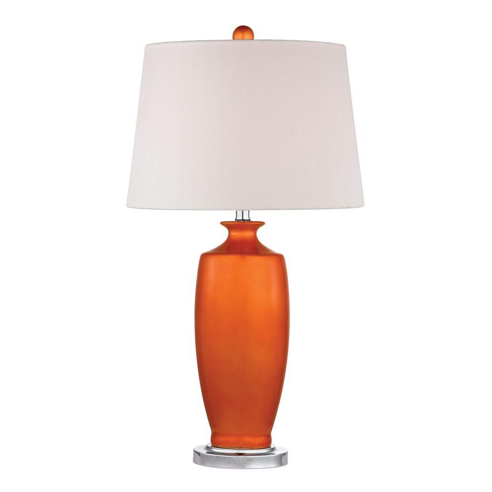 Tangerine Orange Ceramic Table Lamp