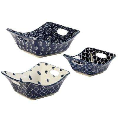 Blue Indigo 3-Piece Blue Square Bowl Set with Cutout Handles
