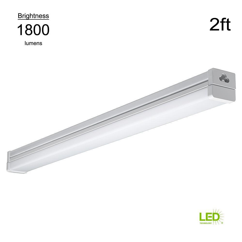 100 Watt Equivalent Integrated Led High Output White Strip Light Fixture 1800 Lumens 4000k Bright 2 Pack