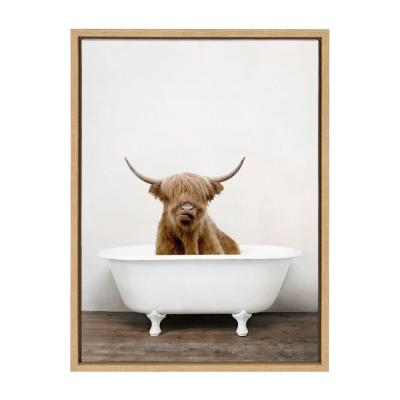"Sylvie ""Highland Cow in Tub Color"" by Amy Peterson Art Studio Framed Canvas Wall Art 18 in. x 24 in."