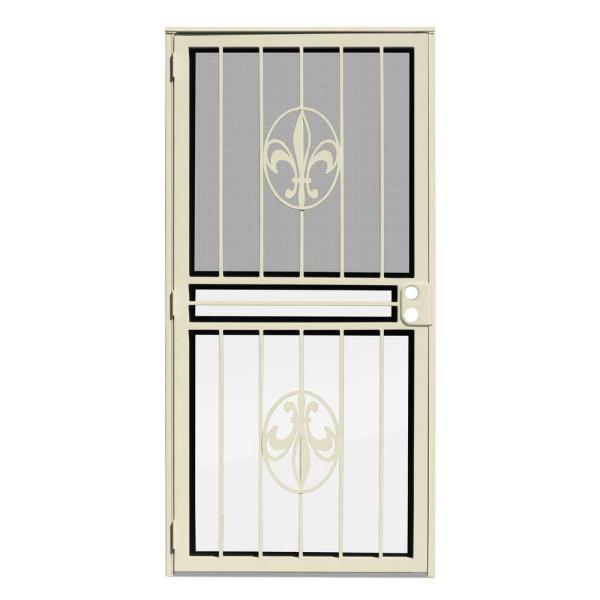 30 in. x 80 in. Fleur de Lis Almond Recessed Mount All Season Security Door with Insect Screen and Glass Inserts