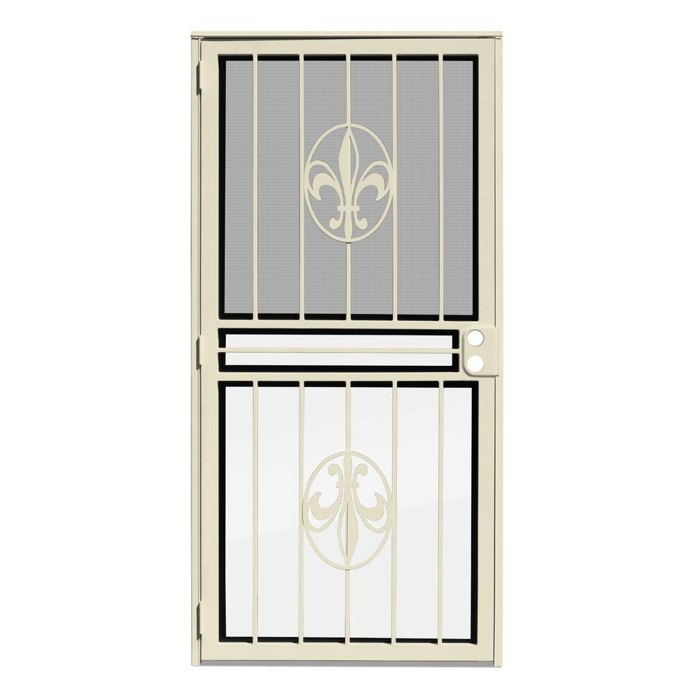 Unique Home Designs 32 in. x 80 in. Fleur de Lis Almond Recessed Mount All Season Security Door with Insect Screen and Glass Inserts
