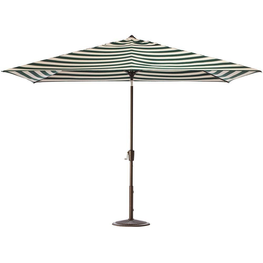 Home Decorators Collection 6.5 ft. x 10 ft. Auto-Tilt Patio Umbrella in Maxim Forest Sunbrella with Bronze Frame