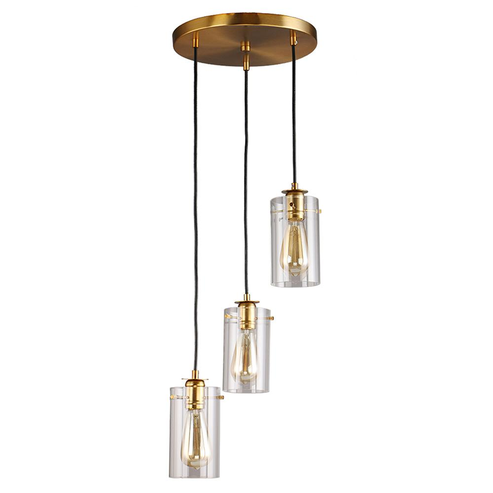 DSI Brooklyn Collection 3-Light Antique Brass Pendant with Clear Glass Shades