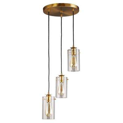 Brooklyn Collection 3-Light Antique Brass Pendant with Clear Glass Shades
