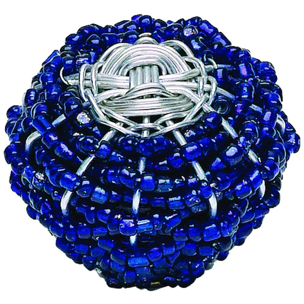 Atlas Homewares Bollywood 1-1/2 in. Blue And Silver Cabinet Knob