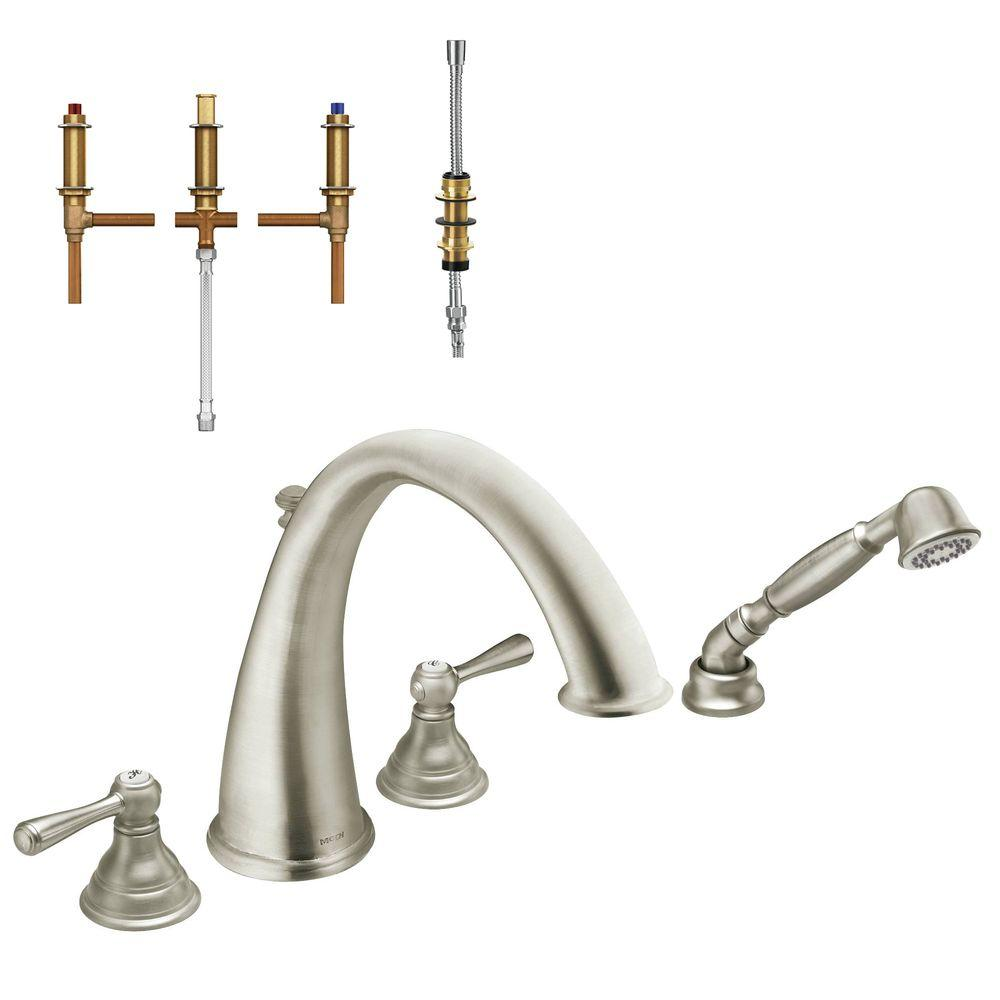 MOEN Kingsley 2-Handle Deck-Mount High-Arc Roman Tub Faucet Trim Kit ...