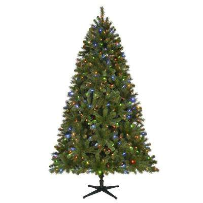 7.5 ft. Pre-Lit LED Wesley Spruce Artificial Christmas Tree with 550 SureBright Color Changing Lights