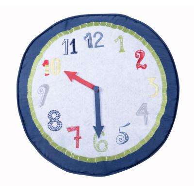 Preppy Plaid Round Clock Pillow