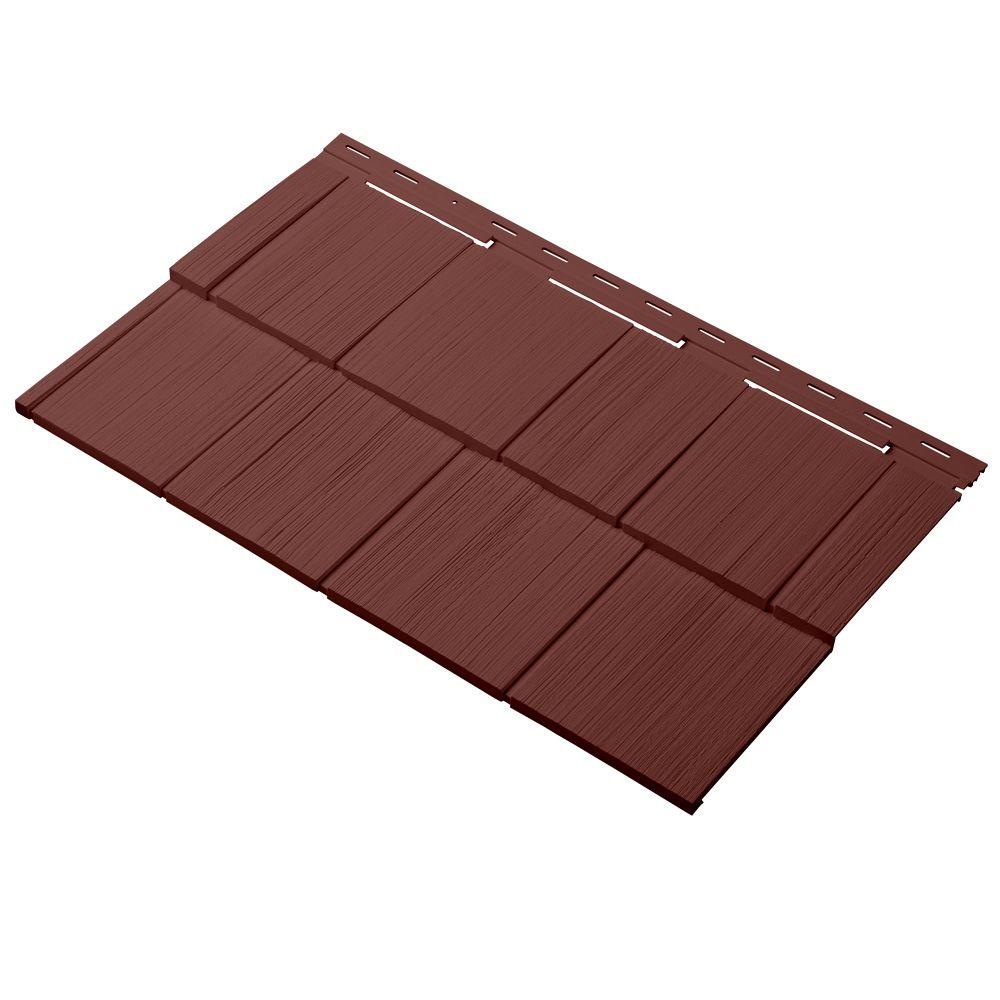 Cellwood Cedar Dimensions Shingle 24 in. Polypropylene Siding Sample in Russet Red