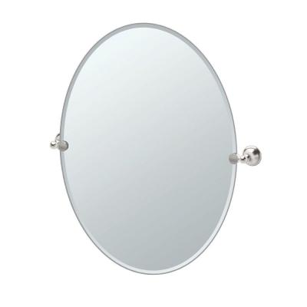 Laurel 24 in. W x 32 in. H Frameless Oval Beveled Edge Bathroom Vanity Mirror in Satin Nickel