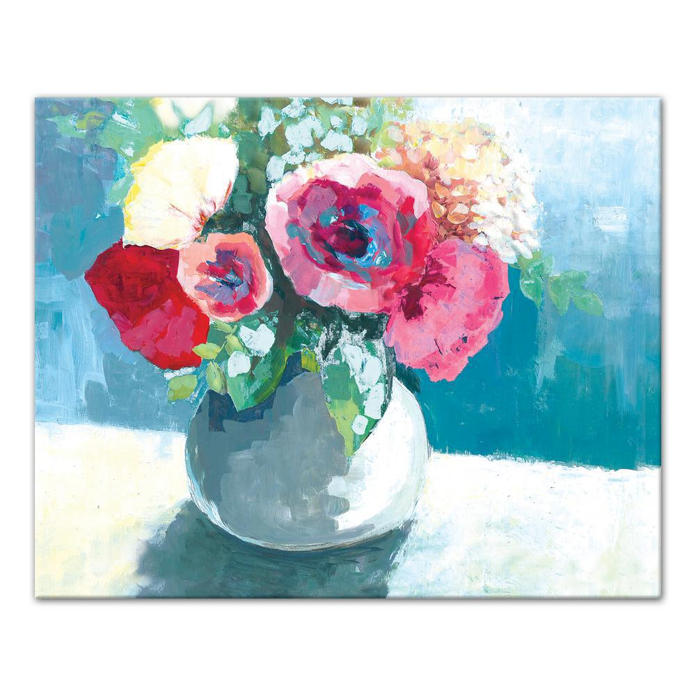 Designs Direct 16 In X 20 In Blue And Pink Flowers In Vase