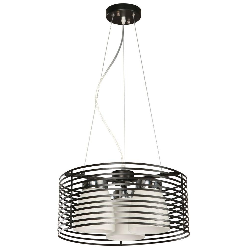 Hampton Bay Aranga 3-Light Matte Black Drum Pendant