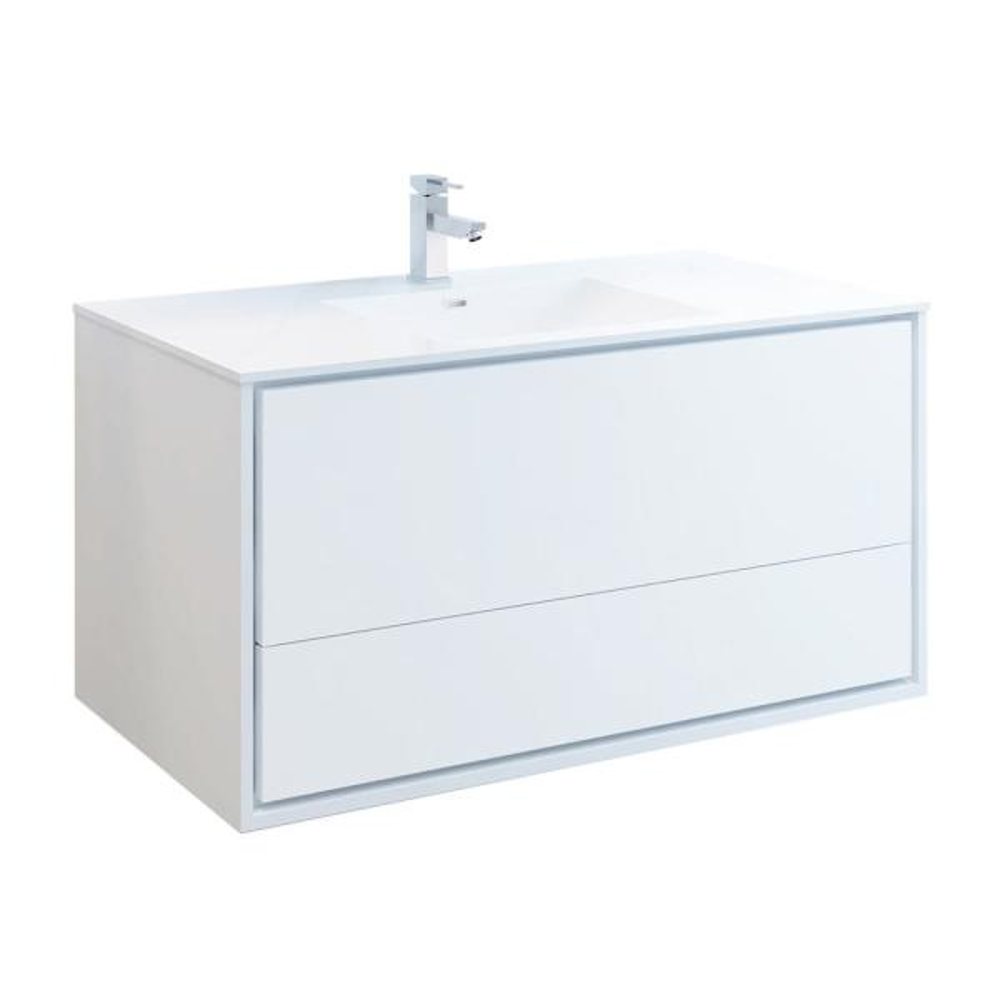 Catania 48 in. Modern Wall Hung Bath Vanity in Glossy White with Vanity Top in White with White Basin