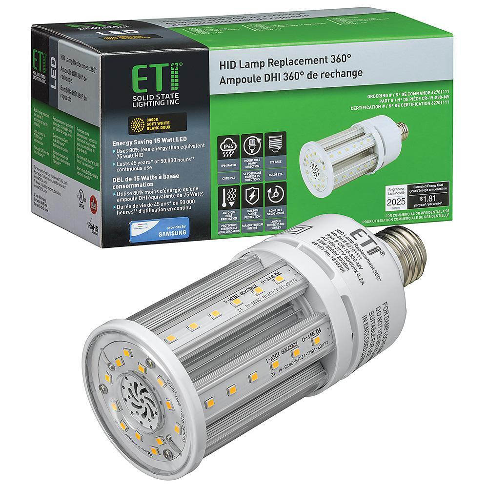 8 in. 75-Watt Equivalent Corn Cob E26 LED Light HID Replacement 360-Degree 15-Watt 2025 Lumens 3000K Soft White