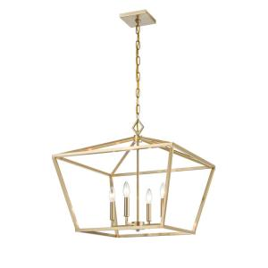 23 in. 4-Light Modern Gold Pendant