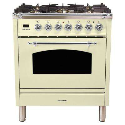 30 in. 3.0 cu. ft. Single Oven Dual Fuel Italian Range True Convection, 5 Burners, LP Gas, Chrome Trim in Antique White