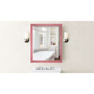 35.5 in. x 35.5 in. Vintage Pink Framed Beveled Mirror