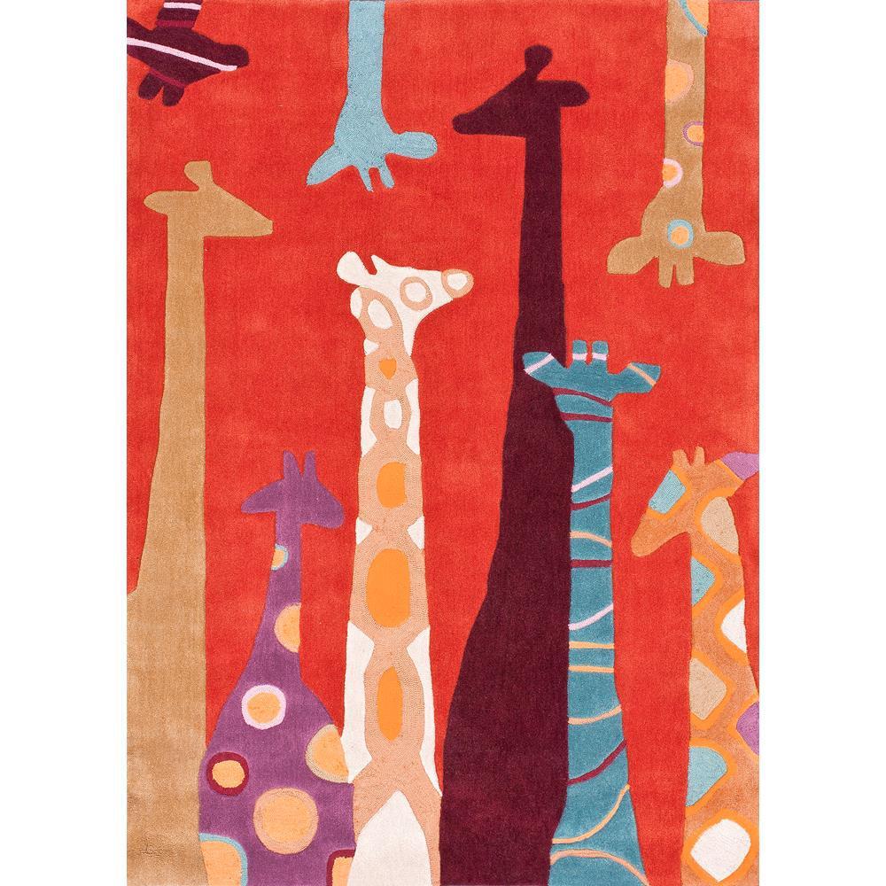 Giraffe Red 4 ft. x 6 ft. Area Rug