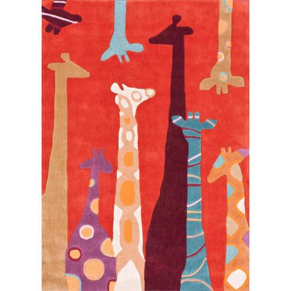 Nuloom Colorful Giraffes Playmat Red 5