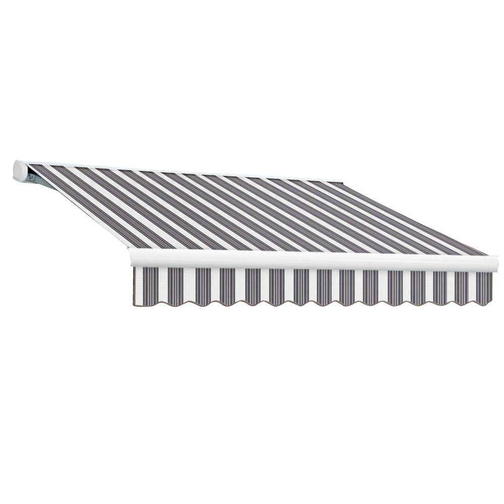 null 18 ft. Key West Full-Cassette Right Motor Retractable Awning with Remote (120 in. Projection) in Navy/Gray/White
