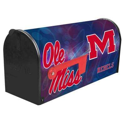 Blue/Red Post Mount University of Mississippi Mailbox