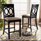 Baxton Studio Verina 43 in. Sand and Espresso Counter Stool (Set of 2)