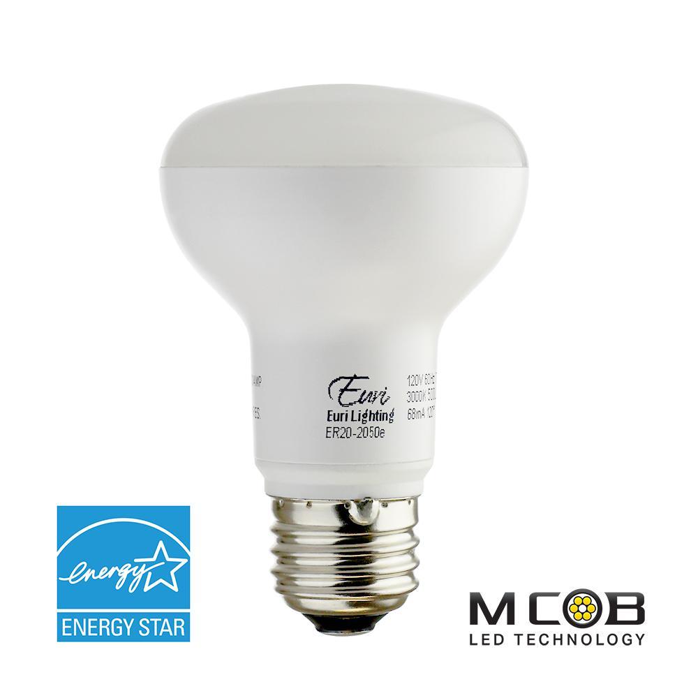 Euri Lighting 50W Equivalent Cool White (5000K) R20 Dimmable MCOB LED Flood Light Bulb