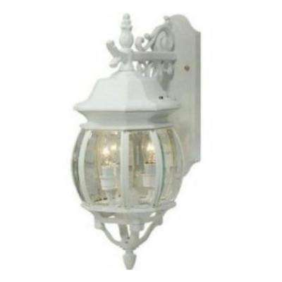 4-Light White Outdoor Wall Lantern Sconce