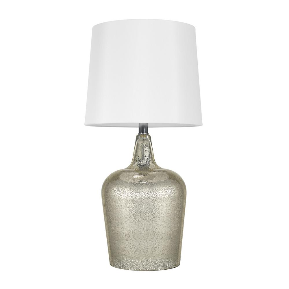 Mercury Glass Table Lamp With White Shade