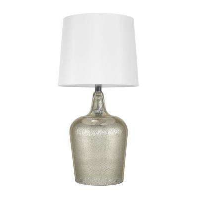 Quinn 24 in. Mercury Glass Body Table Lamp, With White Shade