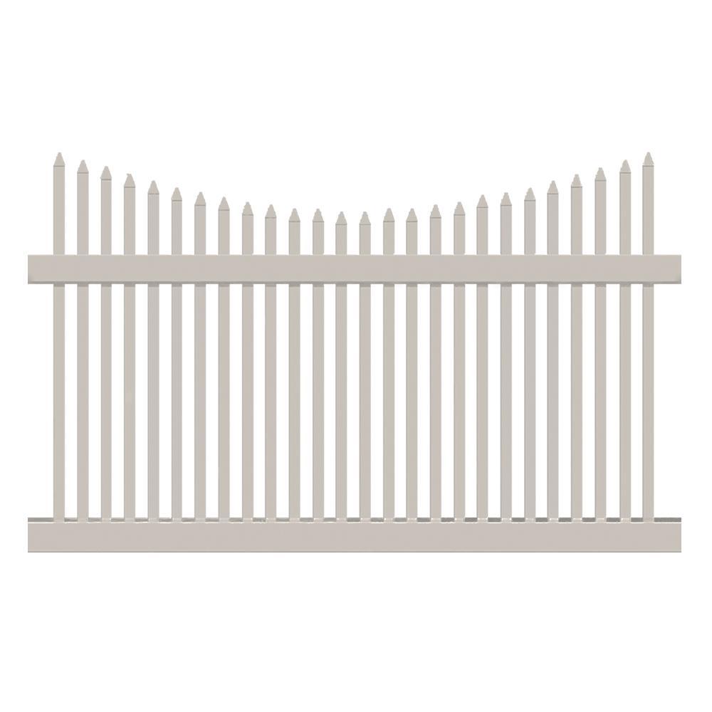 Barrington 5 ft. H x 8 ft. W Tan Vinyl Picket Fence Panel...