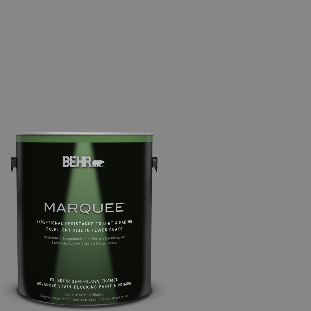 1 gal. #PPU26-04 Falcon Gray Semi-Gloss Enamel Exterior Paint