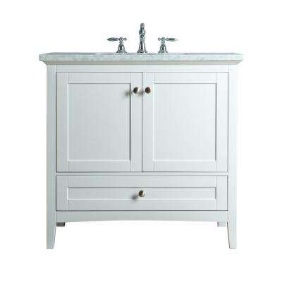 Tower 36 in. W x 22 in. D Vanity in White with Marble Vanity Top in Carrara White with White Basin