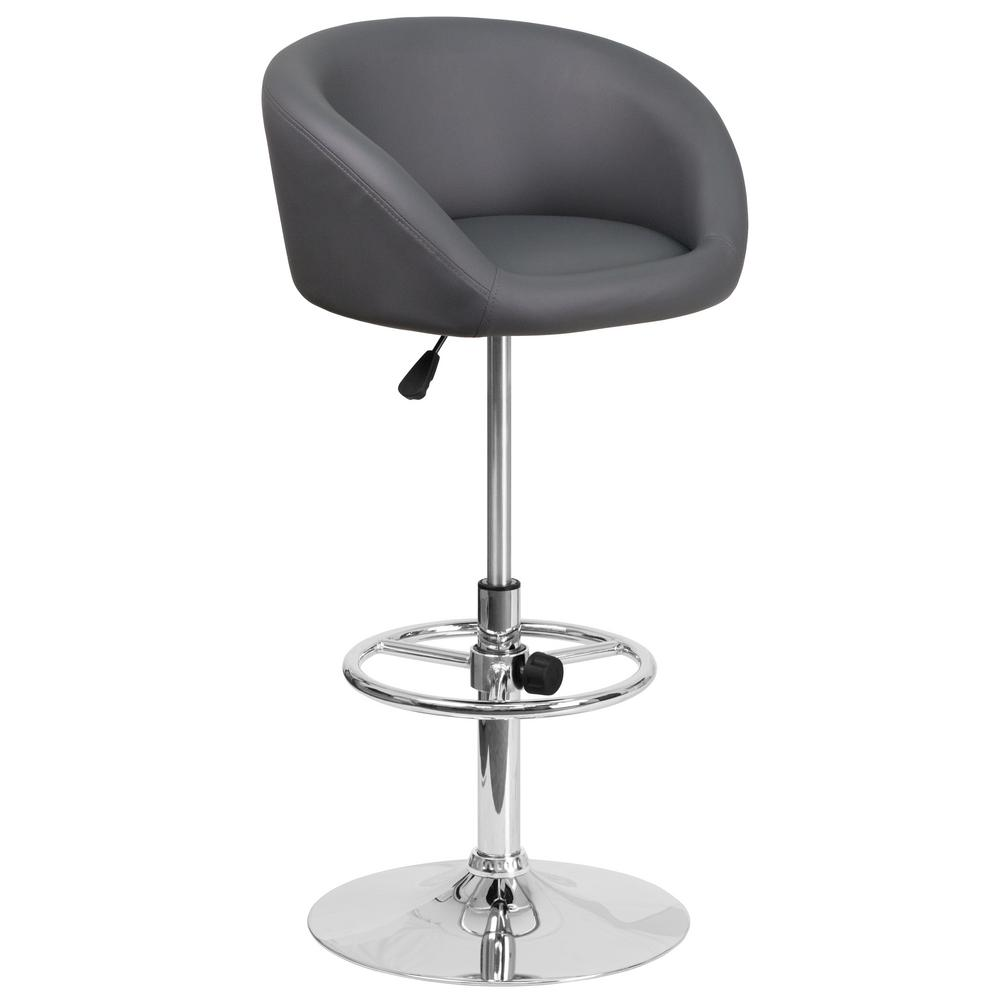 Flash Furniture Adjustable Height Gray Cushioned Bar Stool  : gray vinyl flash furniture bar stools chtc31066lgy 641000 from www.homedepot.com size 1000 x 1000 jpeg 29kB