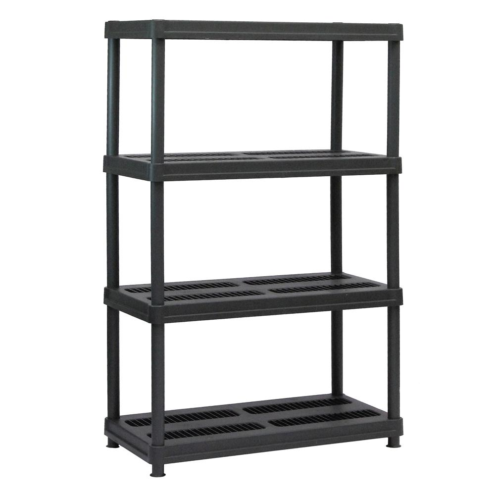 sandusky 56 in h x 36 in w x 18 in d 4 shelf black plastic shelving unit ps361856 4b the. Black Bedroom Furniture Sets. Home Design Ideas