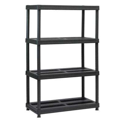 56 in. H x 36 in. W x 18 in. D 4-Shelf Black Plastic Shelving Unit
