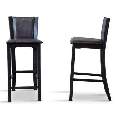 Baxton Studio Rinko Brown Faux Leather Upholstered 2-Piece Bar Stool Set by Baxton Studio