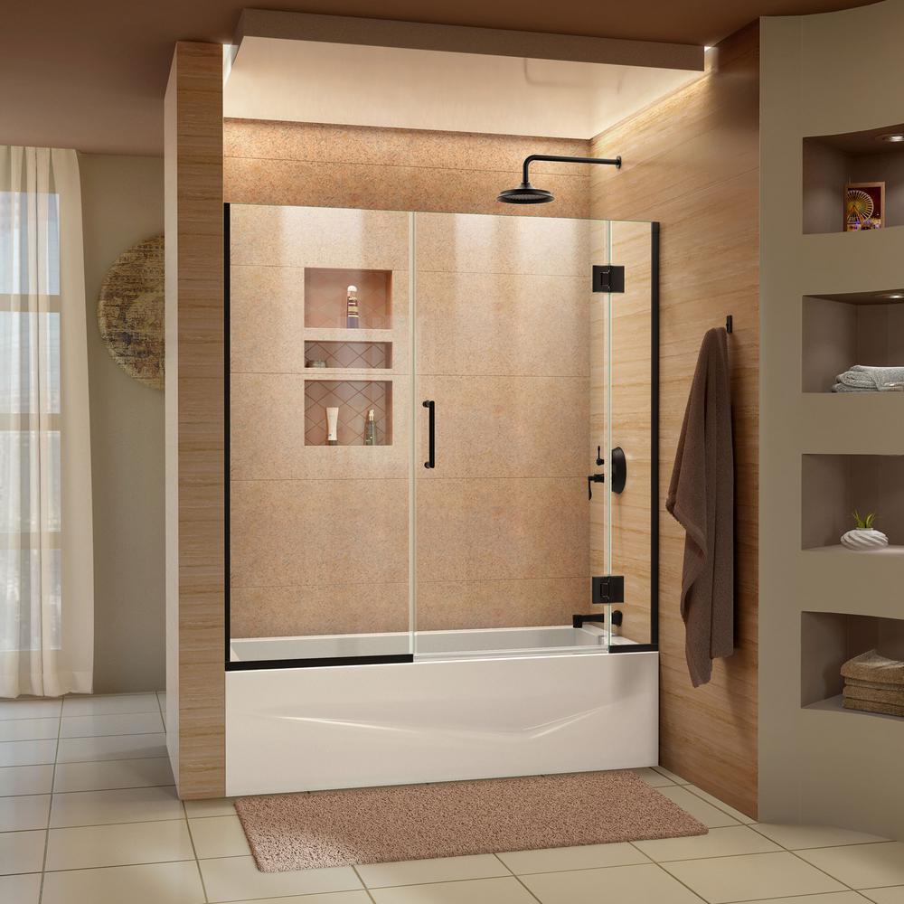 Unidoor X 58 In. W X 58 In. H Frameless Hinged Tub Door