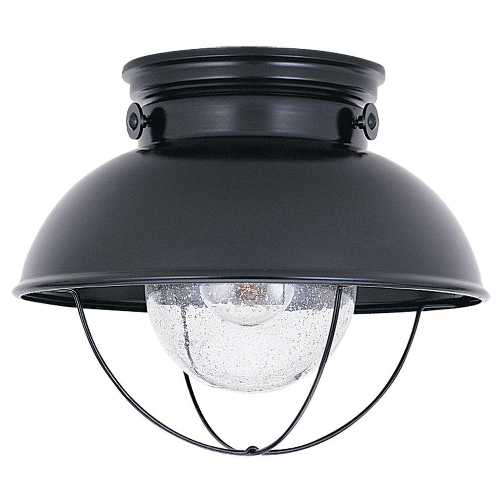 Sea Gull Lighting Sebring 11 25 In W 1 Light Black Nautical Outdoor Flush Mount With Clear Seeded Gl Shade