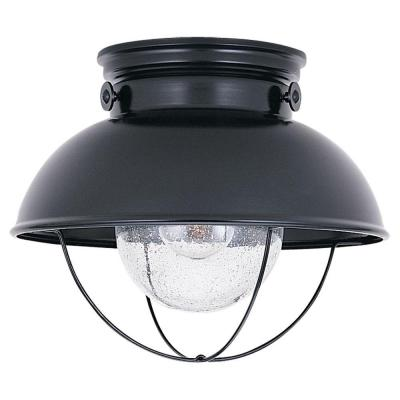 Sebring 11.25 in. W 1-Light Black Industrial Nautical Outdoor Flush Mount with Clear Seeded Glass Shade