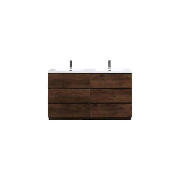 Angeles 60 in. W Vanity in Rosewood with Reinforced Acrylic Vanity Top in White with White Basins