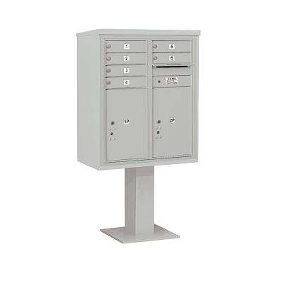 3400 Horizontal Series 6-Compartment 2-Parcel Locker Pedestal Mount Mailbox