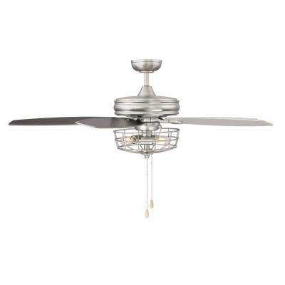 52 in. Brushed Nickel Ceiling Fan with Metal Wire Cage