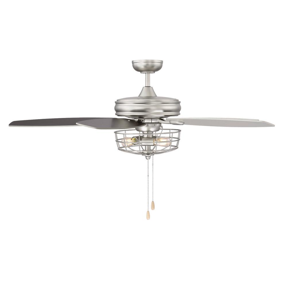 Brushed Nickel Ceiling Fan With Metal Wire Cage