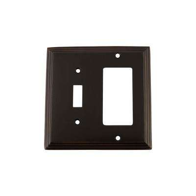 Deco Switch Plate with Toggle and Rocker in Timeless Bronze