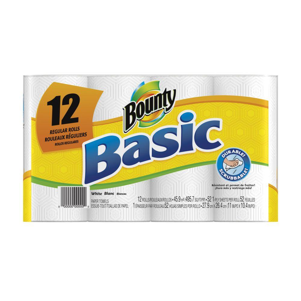Bounty Basic Paper Towels 52/Roll (12-Pack)