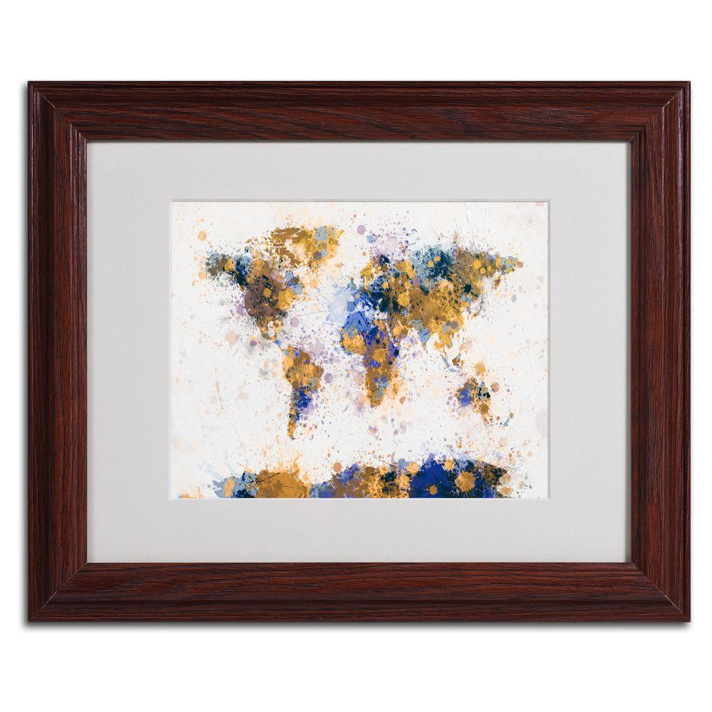 11 in. x 14 in. Paint Splashes World Map 2 Matted